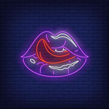 Licking lips neon sign
