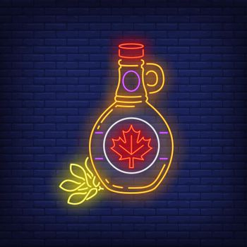 Maple syrup bottle with leaf neon sign