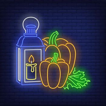 Pumpkins and lantern with candle neon sign