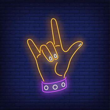 Rock gesture neon sign