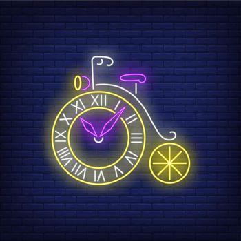 Wheel shaped clock neon sign