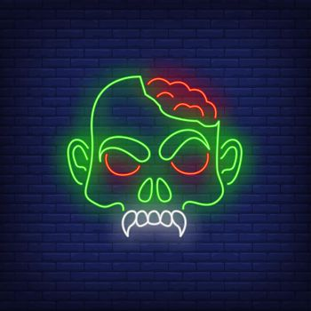 Zombie head with brains neon sign