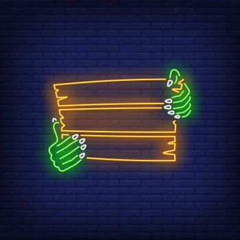 Zombie hands holding wooden signboard neon sign
