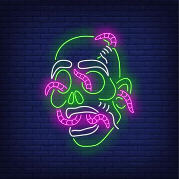 Zombie head with worms neon sign