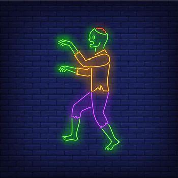 Zombie walking neon sign