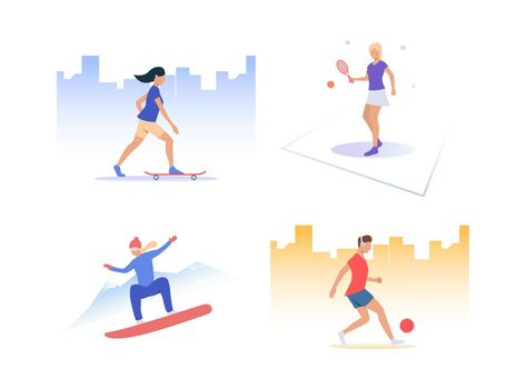 Set of people playing active sports