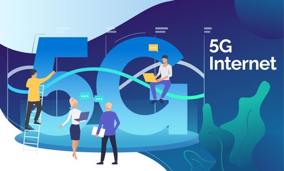 Technical developers working on 5G network project