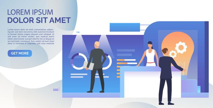 Business people studying isometric sale stands landing template