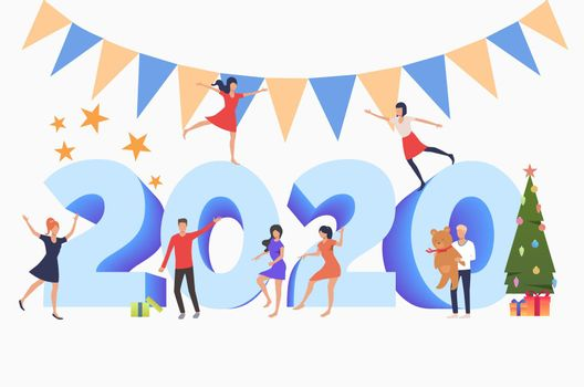 Men and women celebrating New Year 2020