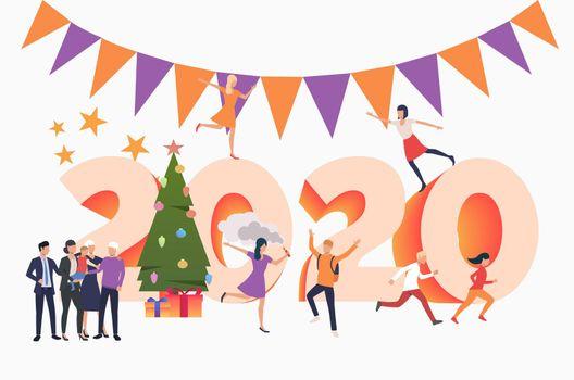 People celebrating New Year 2020