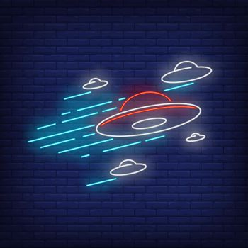 Flying saucers neon sign