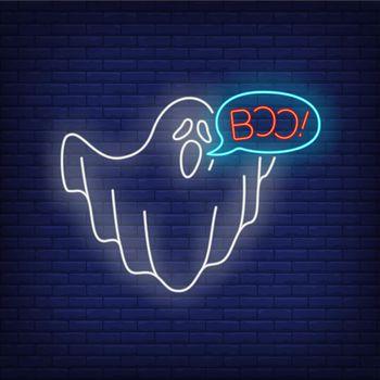 Ghost saying boo neon sign