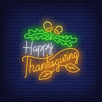 Happy Thanksgiving in neon style