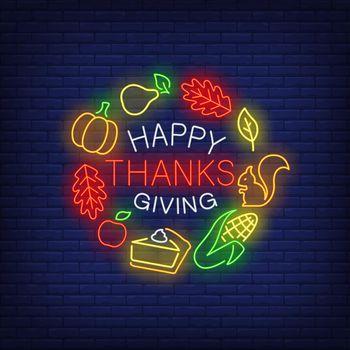 Happy Thanksgiving neon sign