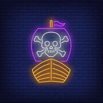 Pirate ship with skull and crossbones on sail neon sign