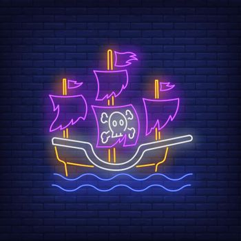 Pirate ship with torn sails neon sign