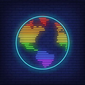 World map with LGBT colors neon sign