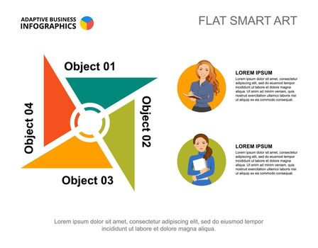 Four objects process chart template for presentation