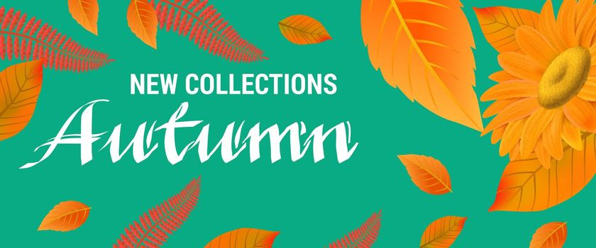 New collections Autumn lettering with orange leaves