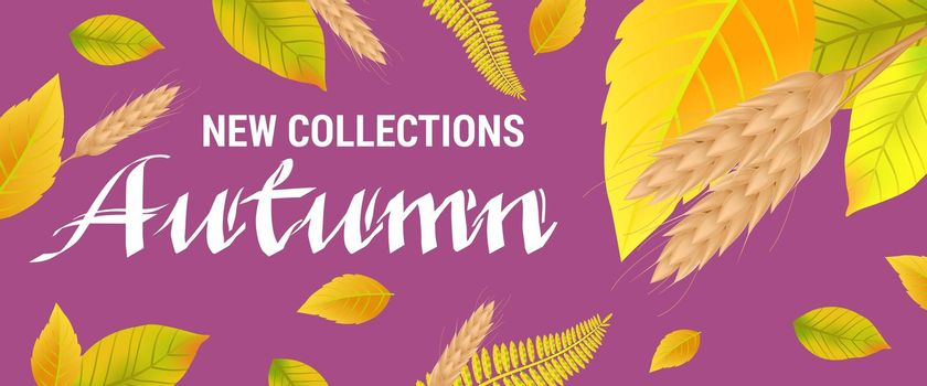 New collections Autumn lettering with wheats and leaves