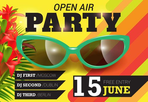 Open air, party, June fifteen lettering with green sunglasses
