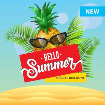New special discount, hello summer poster design