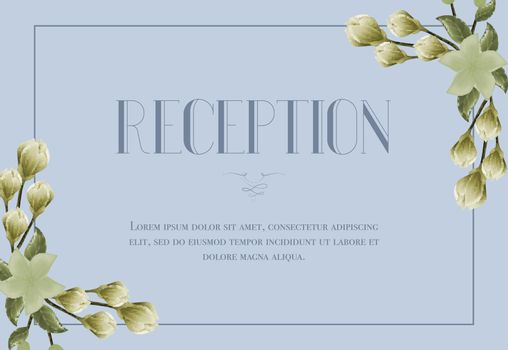 Reception card template with snowdrops and lily