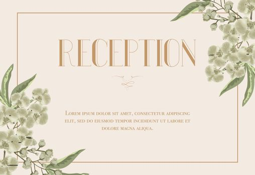 Reception card template with iris and lily of valley