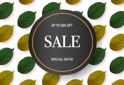 Sale, special offer lettering with leaves pattern