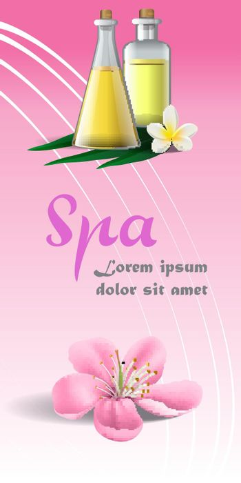 Spa brochure design with pink blossom