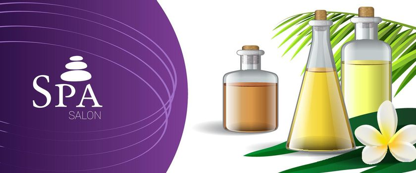 Spa salon brochure design with massage oil