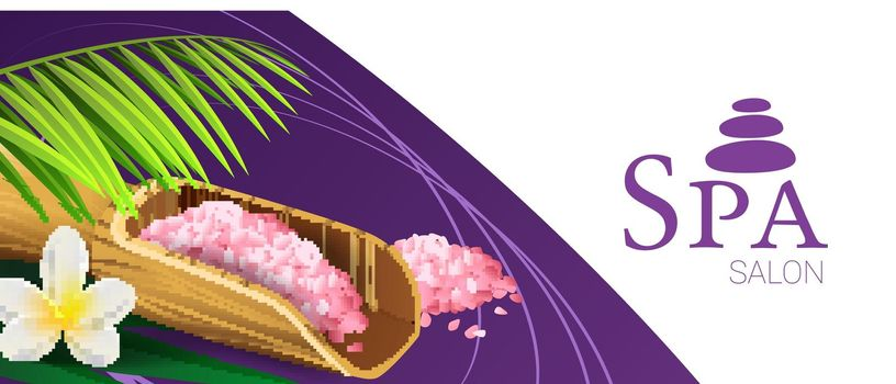 Spa salon coupon design with pink salt
