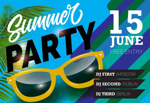 Summer party, June fifteen lettering with sunglasses