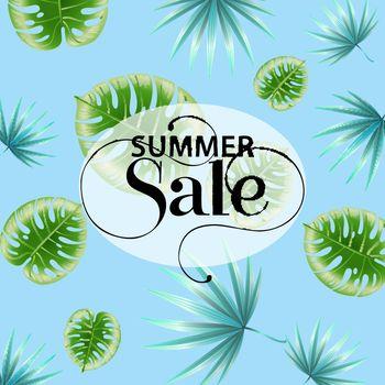 Summer sale blue promo poster design with tropical leaf pattern
