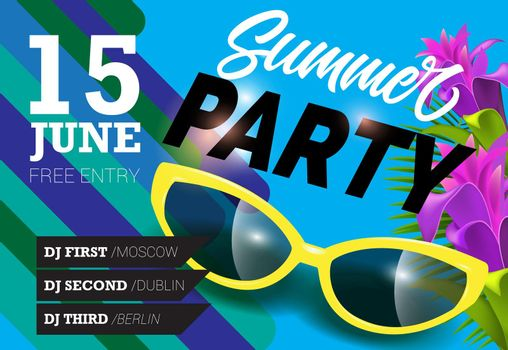 Summer party, June fifteen lettering with yellow sunglasses