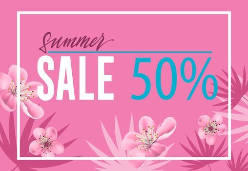 Summer sale, fifty percent brochure design with flowers