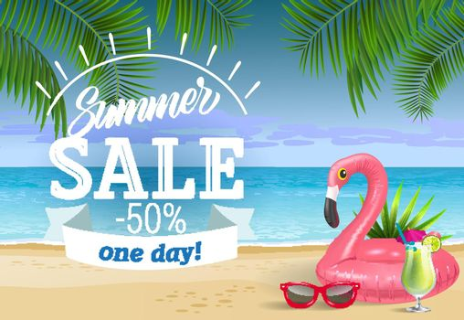 Summer sale, one day lettering with sea beach and swimming ring