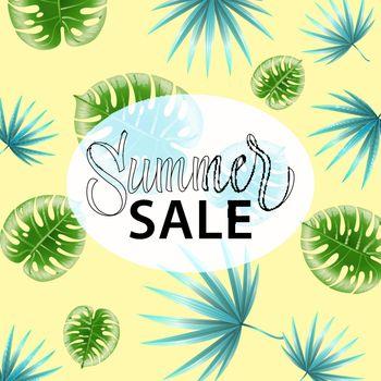 Summer sale. Promo poster design with tropical leaf pattern