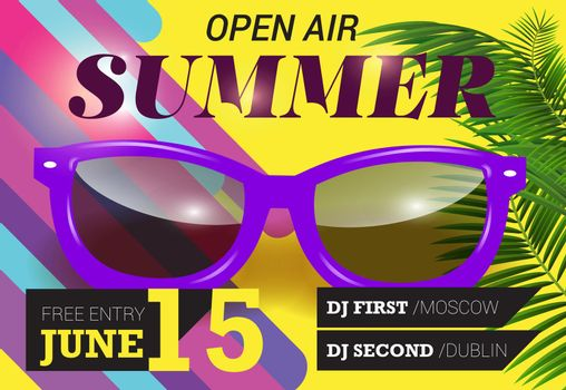 Summer, open air, June fifteen lettering with purple sunglasses