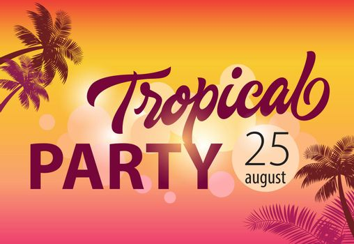Tropical party, august twenty five flyer design
