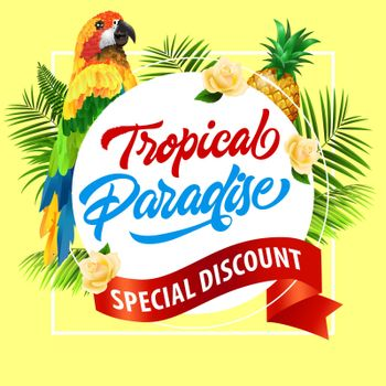 Tropical paradise, special discount lettering with parrot