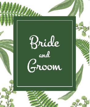 Wedding invitation Bride and groom lettering on greenery pattern