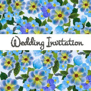 Wedding invitation card design with blue flowers