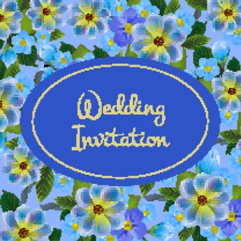 Wedding invitation card design with forget me nots