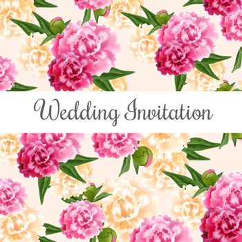 Wedding invitation card design with pink and white peonies