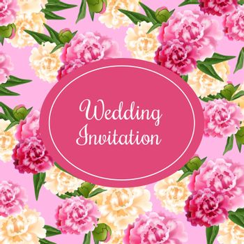 Wedding invitation card design with magenta oval and peonies
