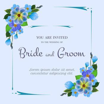 Wedding invitation design with blue flowers