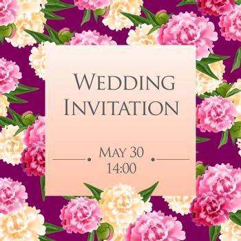 Wedding invitation card template with pink and white peonies