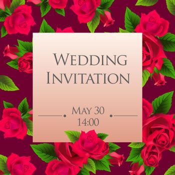 Wedding invitation card template with red roses
