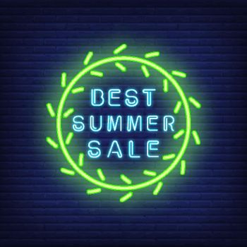 Best summer sale neon sign in green circle